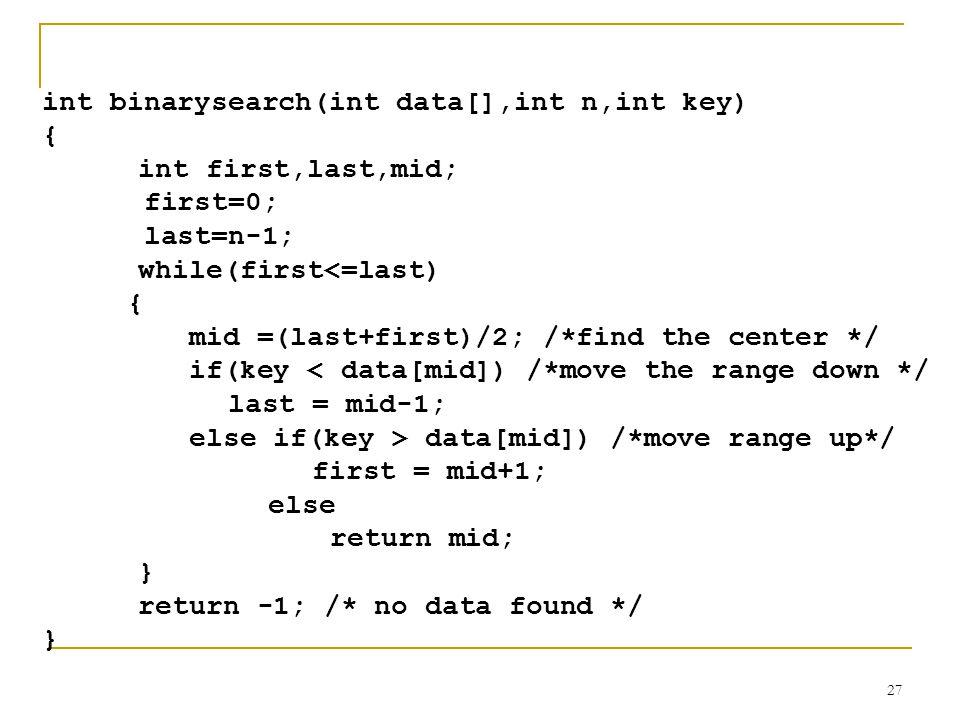 int binarysearch(int data[],int n,int key)
